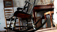 The rocking chair and other things on the room Stock Footage