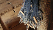 A blue fishing net on a basket Stock Footage