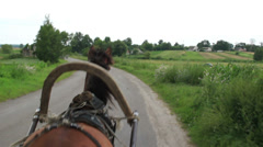 Horse transportation carries harness wheel cart, village road, click for HD Stock Footage