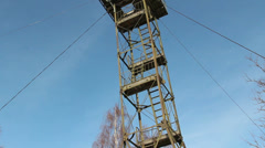 The steel tower placed on top of a mountain Stock Footage