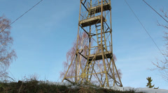 A steel tower on top of a hill Stock Footage