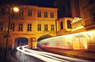 Stock Photo of Street traffic at night in Prague