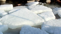 white ice caps floating on the water - stock footage