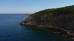 Aerial corsica islet tower cap corse Finocchiarola Stock Footage