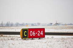 Airport in winter Stock Photos