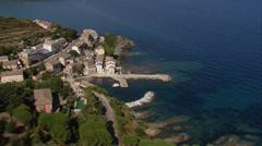 Aerial corsica Barcaggio village cap corse Stock Footage