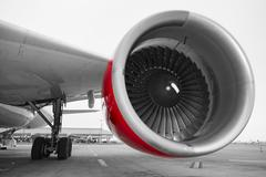 Engine of the airplane - stock photo