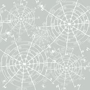 elegant seamless pattern with decorative spiders and spider webs, design element - stock illustration