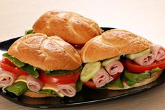 sandwiches fast food on dish - stock photo