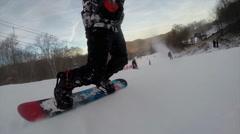 Snowboarding on fresh snow Stock Footage
