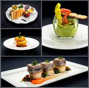 Collage of healthy starters and main courses Stock Photos