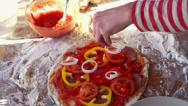 Stock Video Footage of Onion slices falling on tasty pizza, super slow motion, shot at 240fps HD