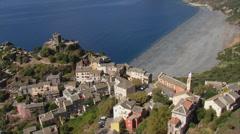 Aerial corsica nonza village cap beach Stock Footage