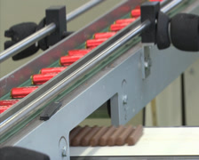 Chocolate factory chocolate bars production line 1 Stock Footage
