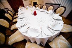 table appointments for wedding dinner - stock photo