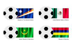 Soccer Ball with Marshall Islands, Mexico, Mauritania and Mauritius Flag Stock Illustration