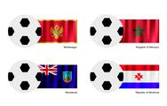 Stock Illustration of Soccer Ball with Montenegro, Morocco, Montserrat and Mordovia Flag