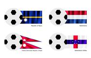 Stock Illustration of Soccer Ball with Nauru, Netherlands, Nepal and Netherlands Antilles Flag