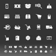 Shipment icons on gray background Stock Illustration