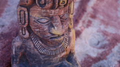 Mayan Statue Close Up Serpent Head Tilt Up Stock Footage