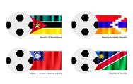 Stock Illustration of Soccer Ball with Mozambique, Nagorno Karabakh, Myanmar and Namibia Flag