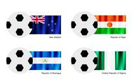 Stock Illustration of Soccer Ball with New Zealand, Niger, Nicaragua and Nigeria Flag