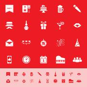 celebration color icons on red background - stock illustration