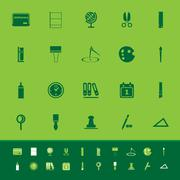 general stationary color icons on green background - stock illustration