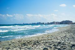 mediterranean sea. la manga beach in spain - stock photo