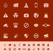general useful color icons on red background - stock illustration