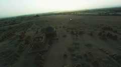 Flyover view of Chaukhandi Tombs, Karachi Stock Footage