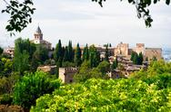 Stock Photo of alhambra palace and view of granada city, spain