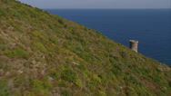 Stock Video Footage of aerial corsica coast sea tower cap