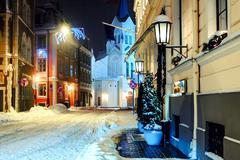 night town in winter. riga, latvia - stock photo