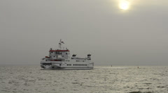 Ferry sailing at the Waddensea from Schiermonnikoog to Lauwersoog Stock Footage