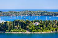 Stock Photo of croatia islands and adriatic sea. aerial view from rovinj belfry