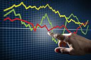 Stock Illustration of touching stock market chart
