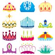 Set of  royal crown collection Stock Illustration