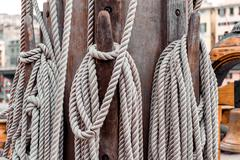 ropes on the shroud on a sailing ship close-up - stock photo