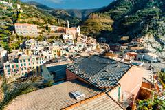 aerial view of vernazza - small italian town in the province of la spezia, li - stock photo