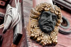 Detail of galeone neptune ship, tourist attraction in genoa, italy Stock Photos