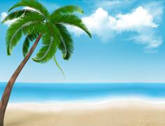 palm tree holiday background. vector. - stock illustration