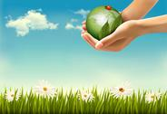 Stock Illustration of nature background with hands holding a globe. vector illustration.