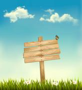 background with a sign. vector. - stock illustration