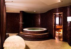 Modern bathroom interior with jacuzzi and sauna Stock Photos