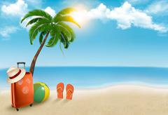 vacation background. beach with palm tree, suitcase and flip flops. vector. - stock illustration