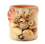 vase with seashell decorate isolated - stock photo