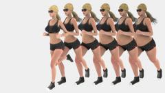 Fat woman running and loose weight become slim woman with steps Stock Footage