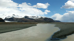 Pan across Iceland Glaciers Stock Footage