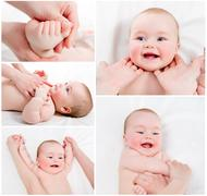 adorable baby massage collage - stock photo